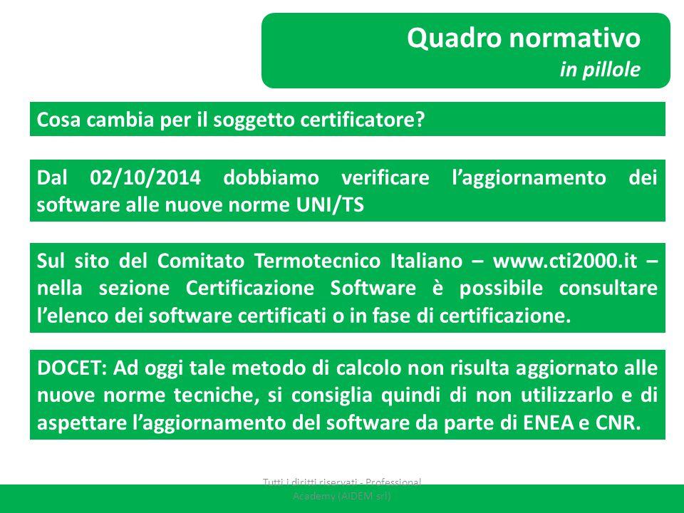 Quadro normativo in pillole Cosa cambia per il soggetto certificatore? Dal 02/10/2014 dobbiamo verificare l'aggiornamento dei software alle nuove norm