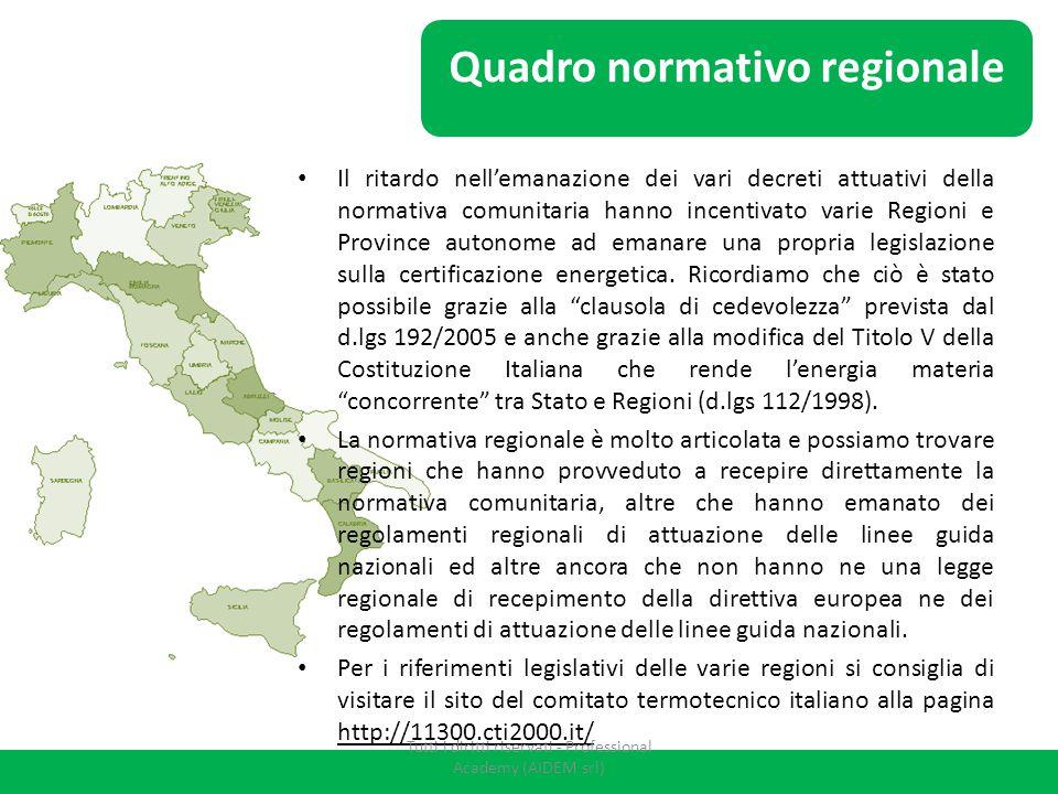 Il ritardo nell'emanazione dei vari decreti attuativi della normativa comunitaria hanno incentivato varie Regioni e Province autonome ad emanare una p
