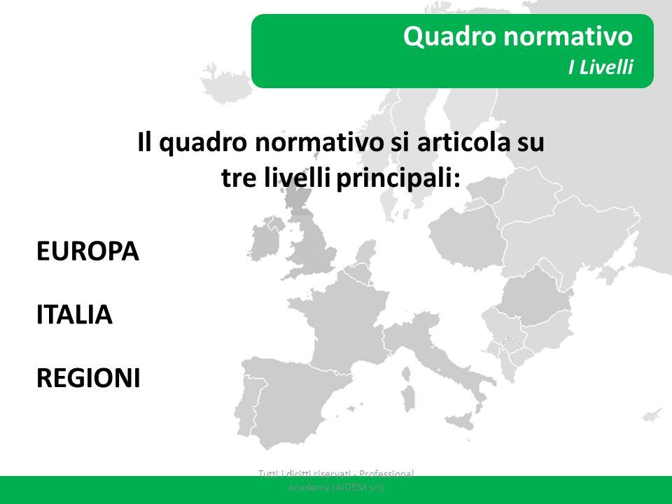 Quadro normativo I Livelli Il quadro normativo si articola su tre livelli principali: EUROPA ITALIA REGIONI Tutti i diritti riservati - Professional A