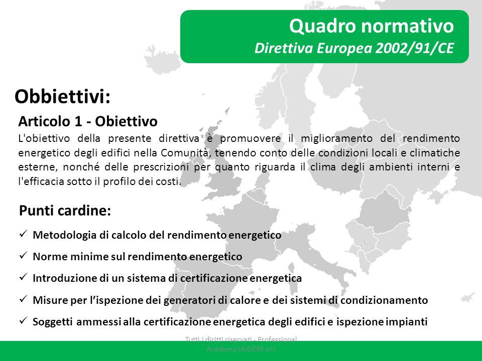Quadro normativo Direttiva Europea 2002/91/CE Obbiettivi: Articolo 1 - Obiettivo L'obiettivo della presente direttiva è promuovere il miglioramento de