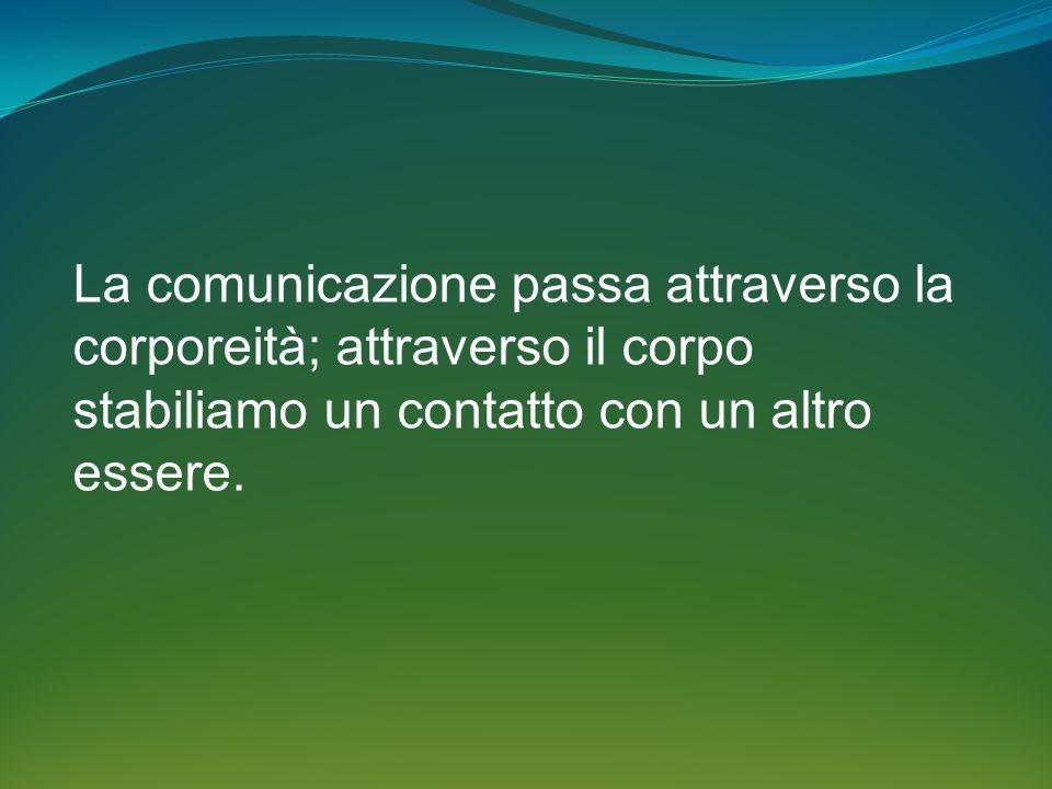 La comunicazione passa attraverso la corporeità; attraverso il corpo stabiliamo un contatto con un altro essere.