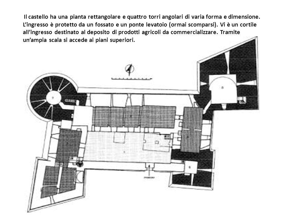 Il castello ha una pianta rettangolare e quattro torri angolari di varia forma e dimensione. L'ingresso è protetto da un fossato e un ponte levatoio (