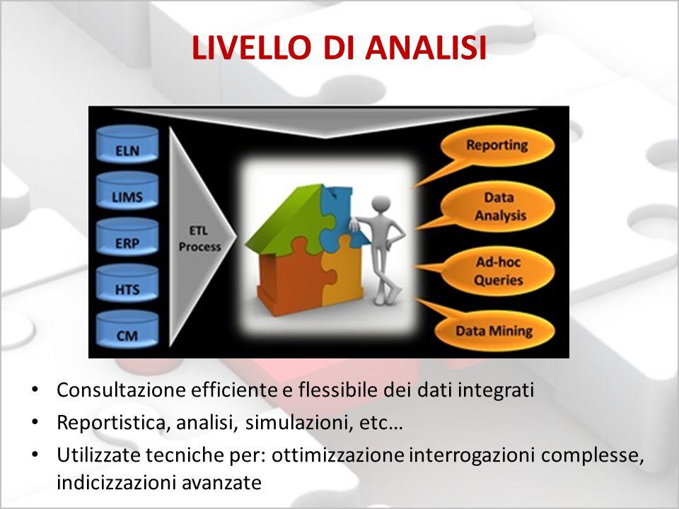 LIVELLO DI ANALISI Consultazione efficiente e flessibile dei dati integrati Reportistica, analisi, simulazioni, etc… Utilizzate tecniche per: ottimizz