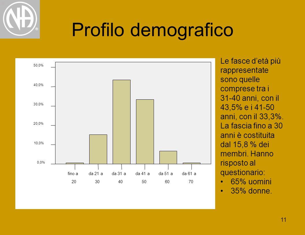 11 Profilo demografico Le fasce d'età più rappresentate sono quelle comprese tra i 31-40 anni, con il 43,5% e i 41-50 anni, con il 33,3%.