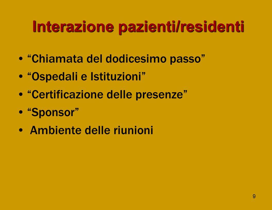 9 Interazionepazienti/residenti Interazione pazienti/residenti Chiamata del dodicesimo passo Ospedali e Istituzioni Certificazione delle presenze Sponsor Ambiente delle riunioni