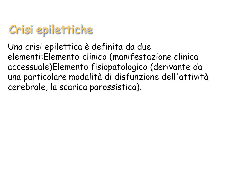 Una crisi epilettica è definita da due elementi:Elemento clinico (manifestazione clinica accessuale)Elemento fisiopatologico (derivante da una particolare modalità di disfunzione dell attività cerebrale, la scarica parossistica).