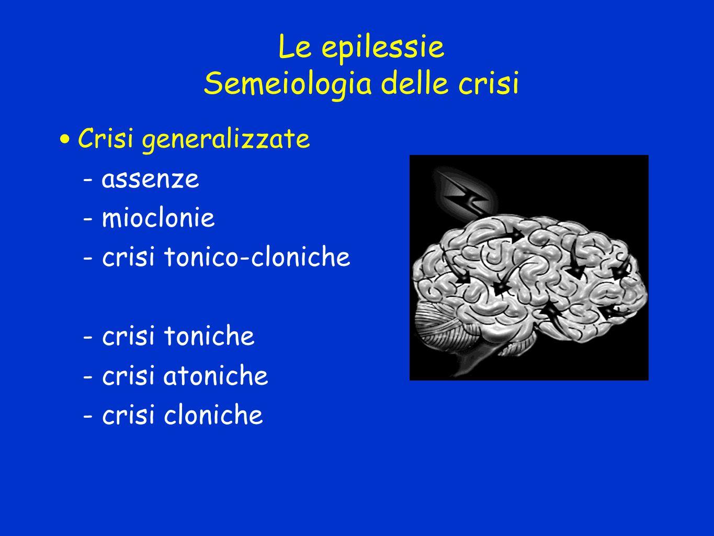 Le epilessie Semeiologia delle crisi Crisi generalizzate - assenze - mioclonie - crisi tonico-cloniche - crisi toniche - crisi atoniche - crisi cloniche