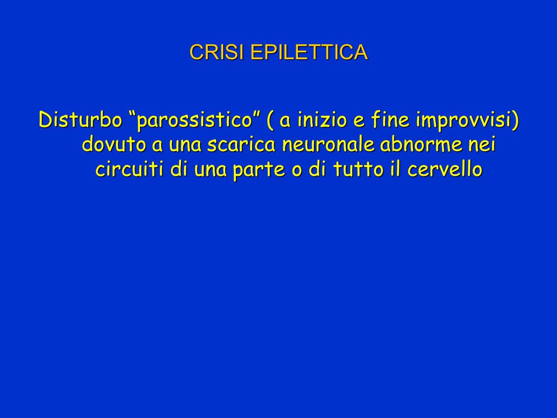 CRISI EPILETTICA Disturbo parossistico ( a inizio e fine improvvisi) dovuto a una scarica neuronale abnorme nei circuiti di una parte o di tutto il cervello