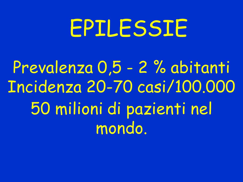 EPILESSIE Prevalenza 0,5 - 2 % abitanti Incidenza 20-70 casi/100.000 50 milioni di pazienti nel mondo.