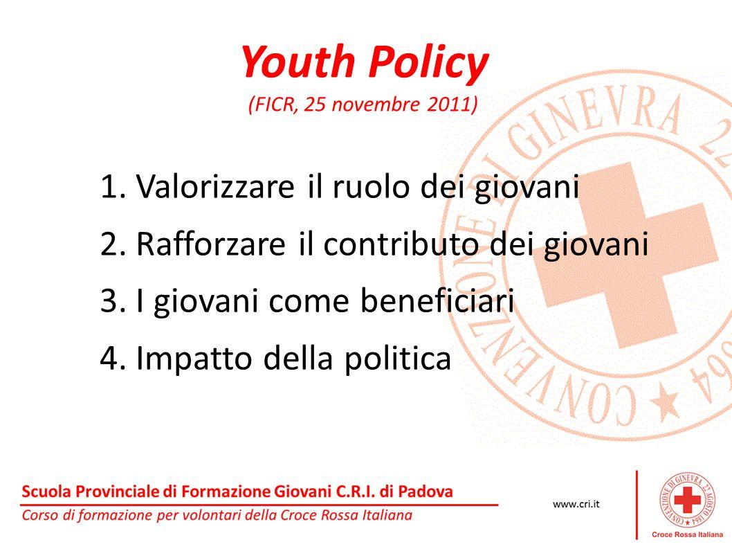 Youth Policy (FICR, 25 novembre 2011) 1. Valorizzare il ruolo dei giovani 2. Rafforzare il contributo dei giovani 3. I giovani come beneficiari 4. Imp