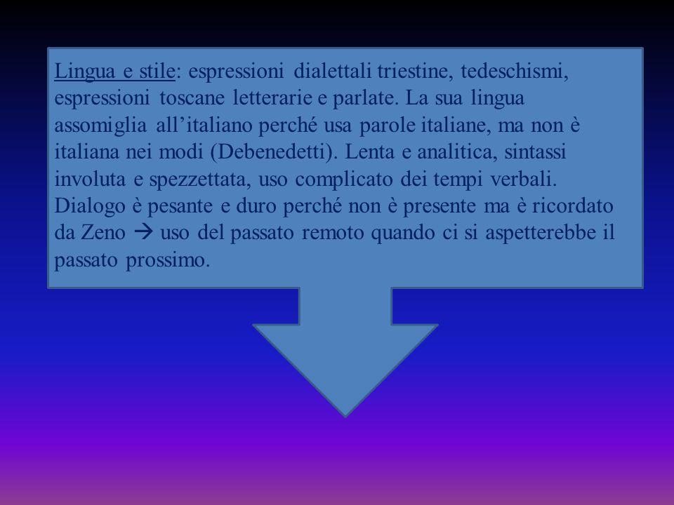 Lingua e stile: espressioni dialettali triestine, tedeschismi, espressioni toscane letterarie e parlate.