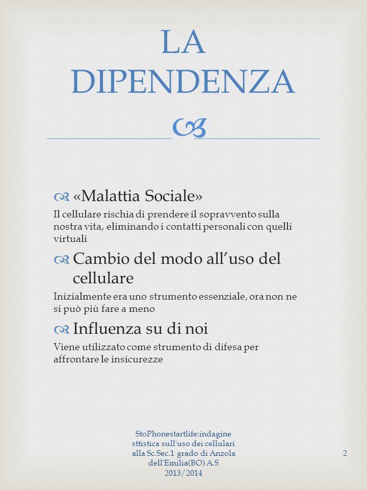 StoPhonestartlife:indagine sttistica sull uso dei cellulari alla Sc.Sec.1 grado di Anzola dell Emilia(BO) A.S 2013/2014 13