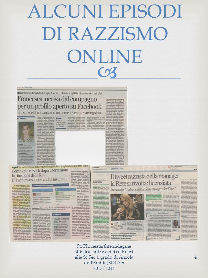  ALCUNI EPISODI DI RAZZISMO ONLINE StoPhonestartlife:indagine sttistica sull uso dei cellulari alla Sc.Sec.1 grado di Anzola dell Emilia(BO) A.S 2013/2014 4
