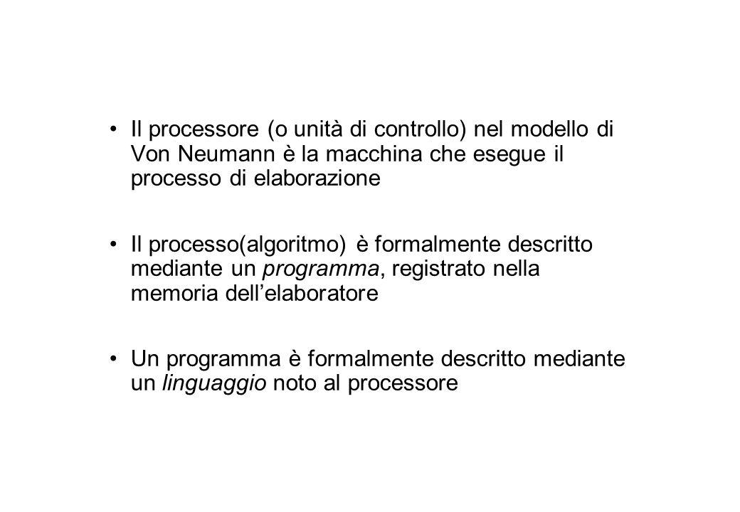 Il processore (o unità di controllo) nel modello di Von Neumann è la macchina che esegue il processo di elaborazione Il processo(algoritmo) è formalmente descritto mediante un programma, registrato nella memoria dell'elaboratore Un programma è formalmente descritto mediante un linguaggio noto al processore