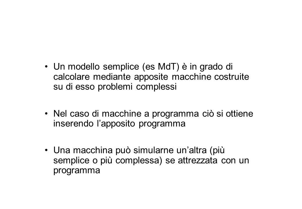 Un modello semplice (es MdT) è in grado di calcolare mediante apposite macchine costruite su di esso problemi complessi Nel caso di macchine a programma ciò si ottiene inserendo l'apposito programma Una macchina può simularne un'altra (più semplice o più complessa) se attrezzata con un programma