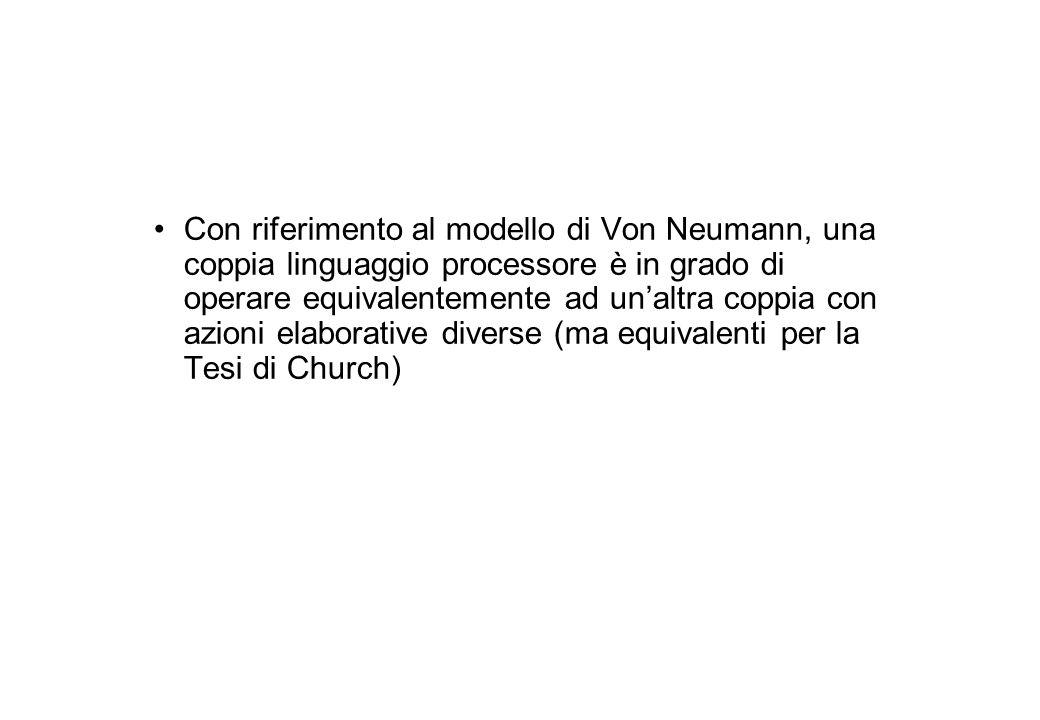 Con riferimento al modello di Von Neumann, una coppia linguaggio processore è in grado di operare equivalentemente ad un'altra coppia con azioni elaborative diverse (ma equivalenti per la Tesi di Church)