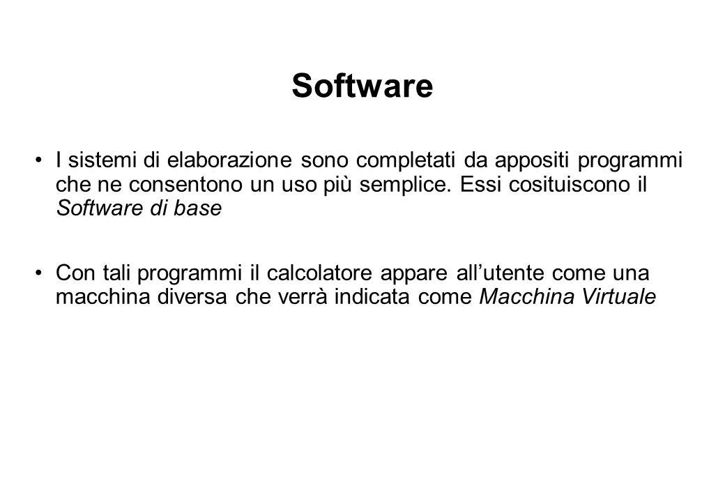 Software I sistemi di elaborazione sono completati da appositi programmi che ne consentono un uso più semplice.