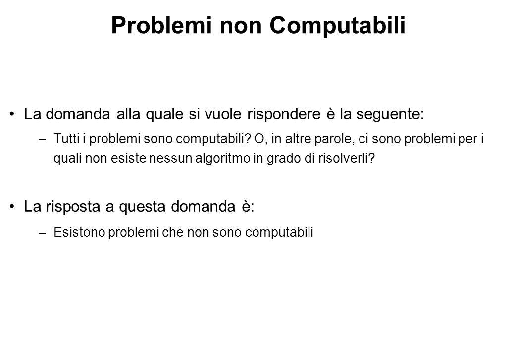 Problemi non Computabili La domanda alla quale si vuole rispondere è la seguente: –Tutti i problemi sono computabili.