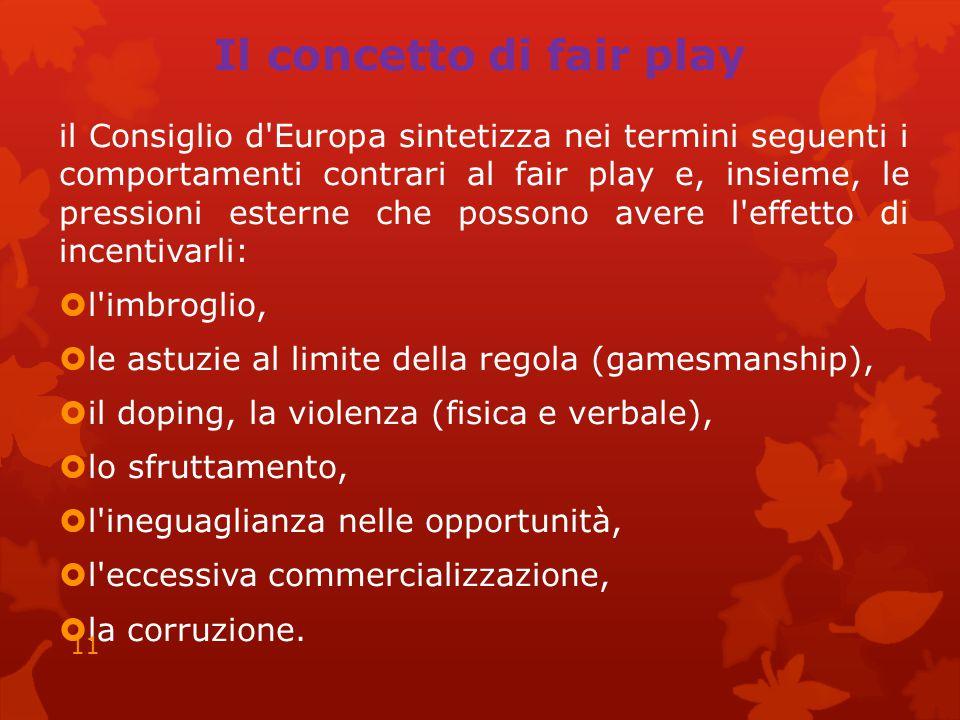 Il concetto di fair play il Consiglio d'Europa sintetizza nei termini seguenti i comportamenti contrari al fair play e, insieme, le pressioni esterne