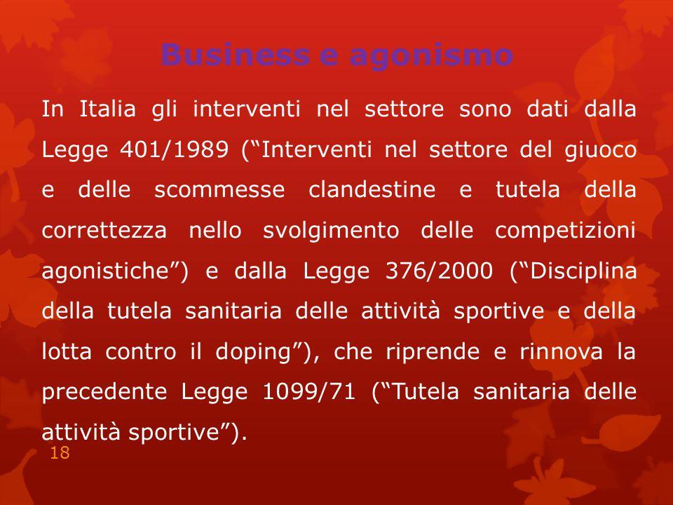 Business e agonismo In Italia gli interventi nel settore sono dati dalla Legge 401/1989 ( Interventi nel settore del giuoco e delle scommesse clandestine e tutela della correttezza nello svolgimento delle competizioni agonistiche ) e dalla Legge 376/2000 ( Disciplina della tutela sanitaria delle attività sportive e della lotta contro il doping ), che riprende e rinnova la precedente Legge 1099/71 ( Tutela sanitaria delle attività sportive ).