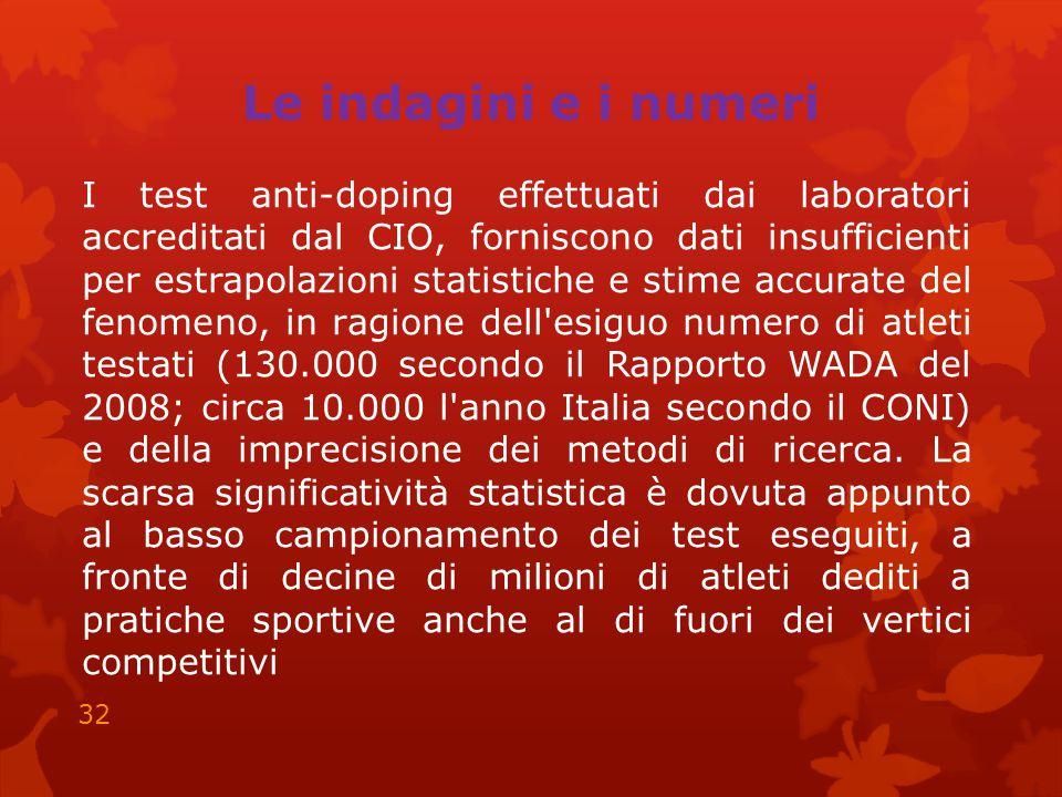 Le indagini e i numeri I test anti-doping effettuati dai laboratori accreditati dal CIO, forniscono dati insufficienti per estrapolazioni statistiche e stime accurate del fenomeno, in ragione dell esiguo numero di atleti testati (130.000 secondo il Rapporto WADA del 2008; circa 10.000 l anno Italia secondo il CONI) e della imprecisione dei metodi di ricerca.