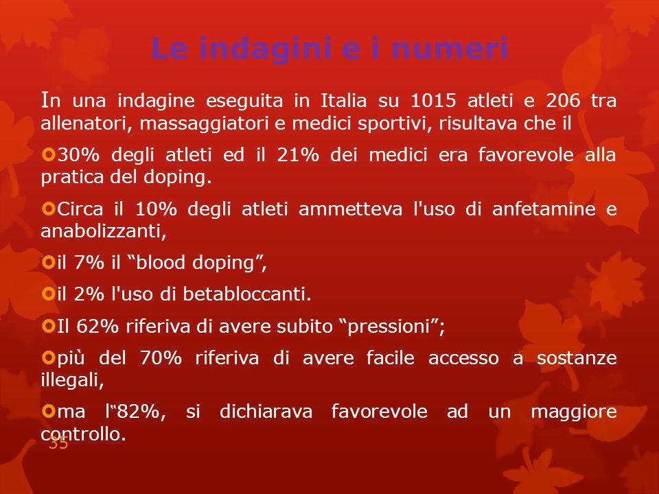 Le indagini e i numeri I n una indagine eseguita in Italia su 1015 atleti e 206 tra allenatori, massaggiatori e medici sportivi, risultava che il  30% degli atleti ed il 21% dei medici era favorevole alla pratica del doping.