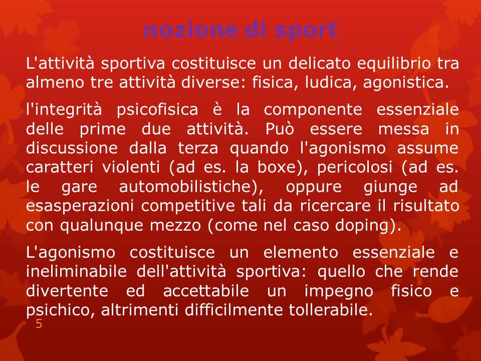 nozione di sport L'attività sportiva costituisce un delicato equilibrio tra almeno tre attività diverse: fisica, ludica, agonistica. l'integrità psico