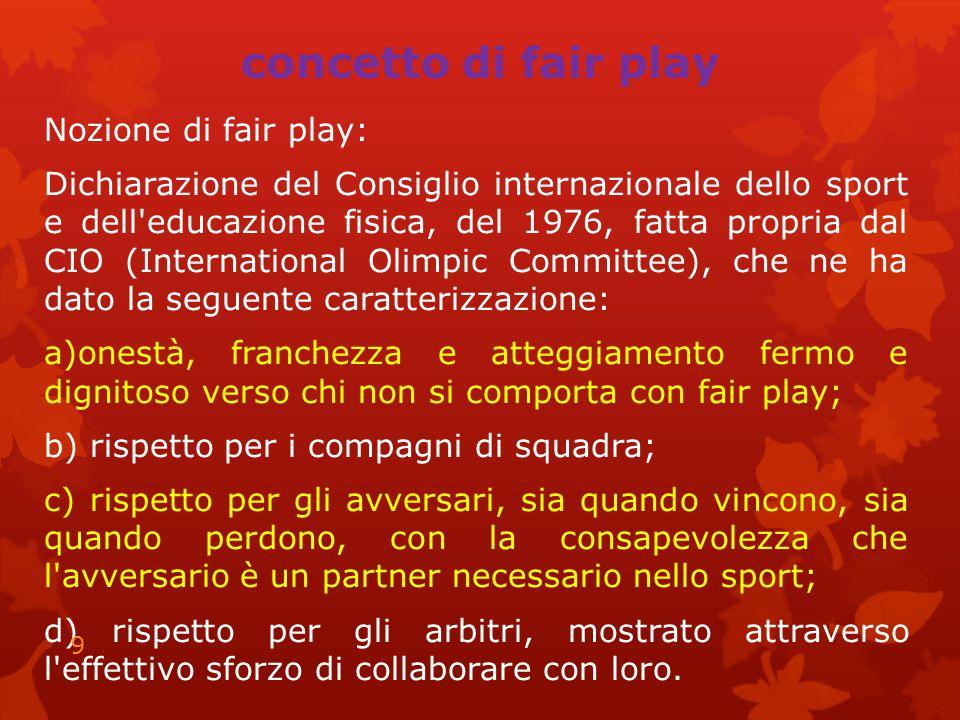 concetto di fair play Nozione di fair play: Dichiarazione del Consiglio internazionale dello sport e dell'educazione fisica, del 1976, fatta propria d