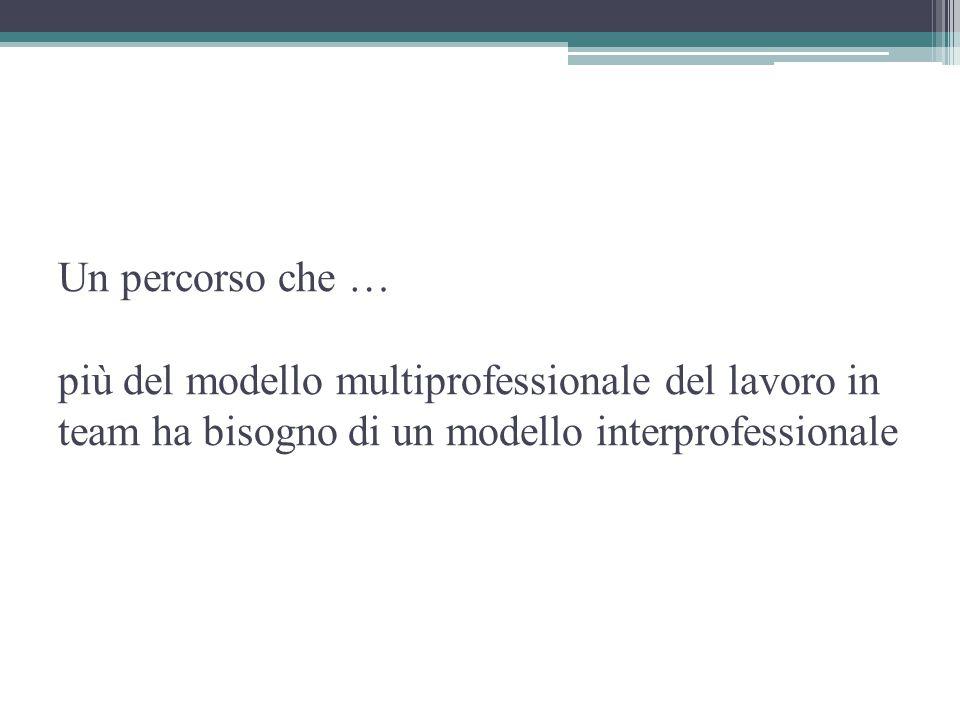 Un percorso che … più del modello multiprofessionale del lavoro in team ha bisogno di un modello interprofessionale