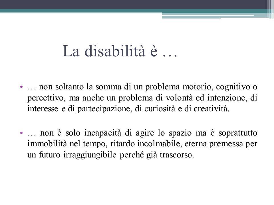 La disabilità è … … non soltanto la somma di un problema motorio, cognitivo o percettivo, ma anche un problema di volontà ed intenzione, di interesse e di partecipazione, di curiosità e di creatività.