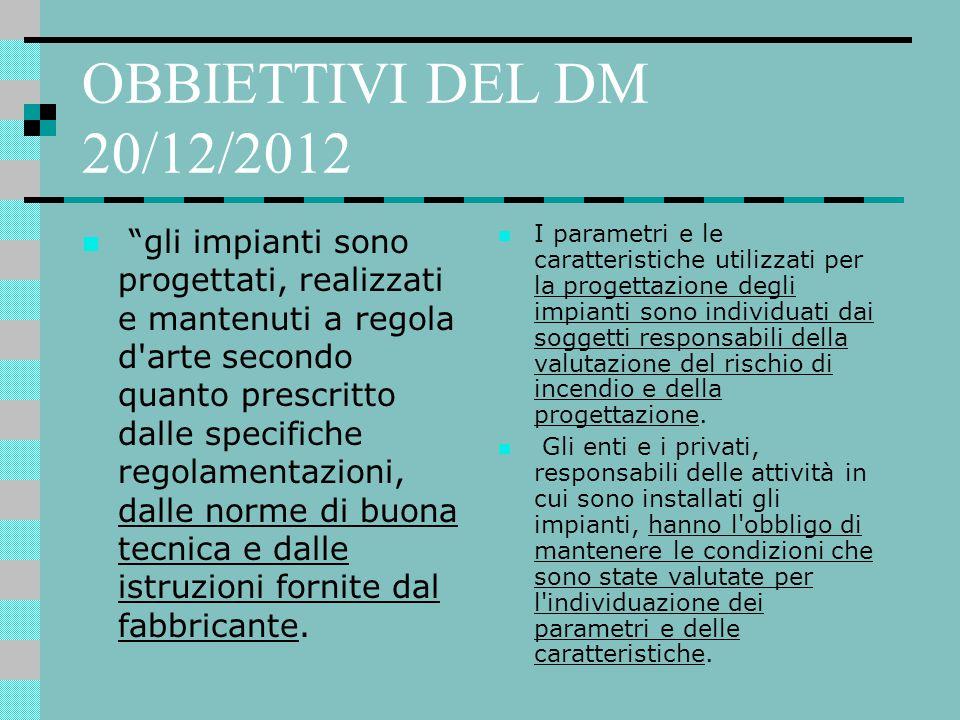 """OBBIETTIVI DEL DM 20/12/2012 """"gli impianti sono progettati, realizzati e mantenuti a regola d'arte secondo quanto prescritto dalle specifiche regolame"""