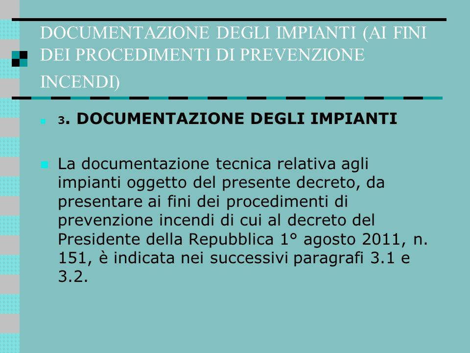 DOCUMENTAZIONE DEGLI IMPIANTI (AI FINI DEI PROCEDIMENTI DI PREVENZIONE INCENDI) 3. DOCUMENTAZIONE DEGLI IMPIANTI La documentazione tecnica relativa ag