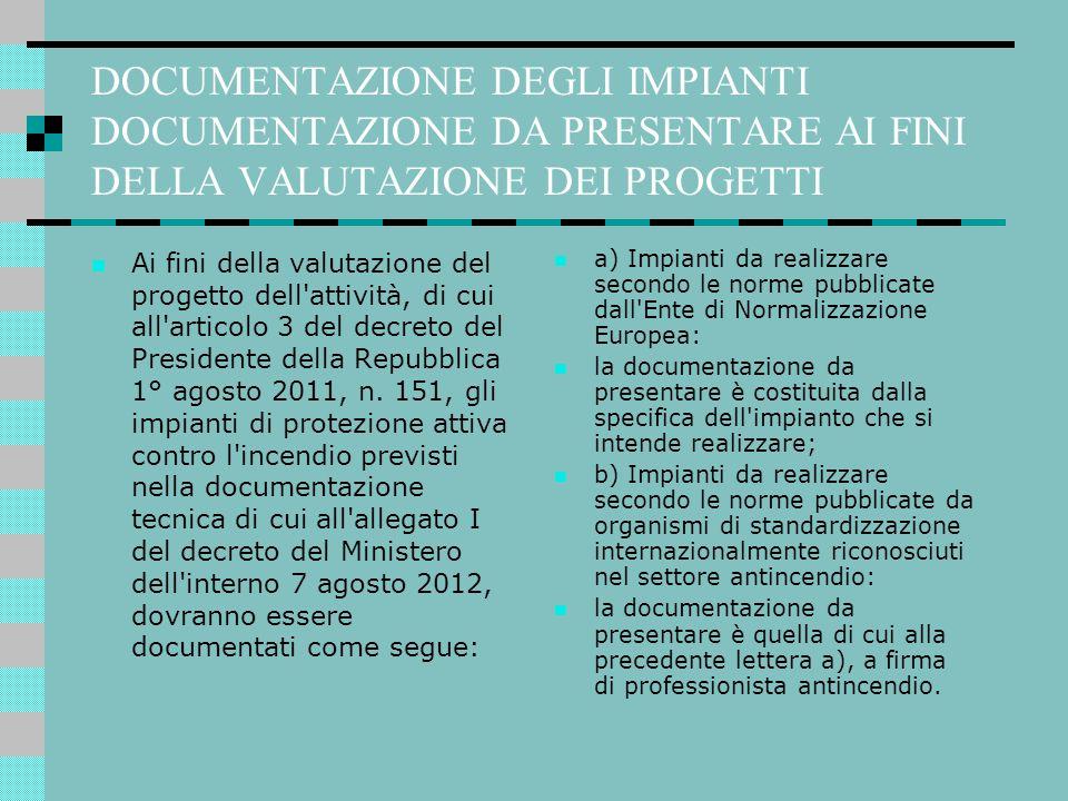 DOCUMENTAZIONE DEGLI IMPIANTI DOCUMENTAZIONE DA PRESENTARE AI FINI DELLA VALUTAZIONE DEI PROGETTI Ai fini della valutazione del progetto dell'attività
