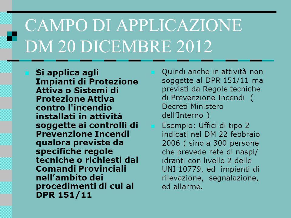 CAMPO DI APPLICAZIONE DM 20 DICEMBRE 2012 Si applica agli Impianti di Protezione Attiva o Sistemi di Protezione Attiva contro l'incendio installati in