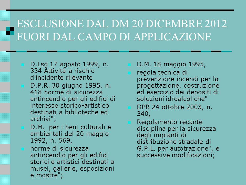 ESCLUSIONE DAL DM 20 DICEMBRE 2012 FUORI DAL CAMPO DI APPLICAZIONE D.Lsg 17 agosto 1999, n. 334 Attività a rischio d'incidente rilevante D.P.R. 30 giu