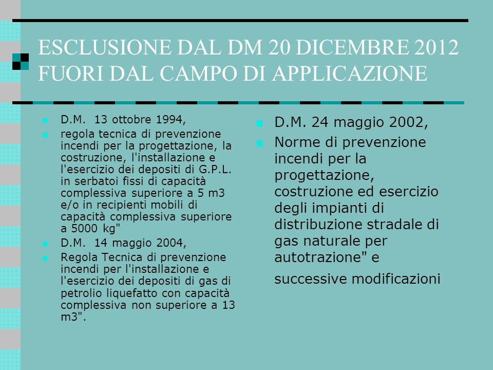 ESCLUSIONE DAL DM 20 DICEMBRE 2012 FUORI DAL CAMPO DI APPLICAZIONE D.M. 13 ottobre 1994, regola tecnica di prevenzione incendi per la progettazione, l