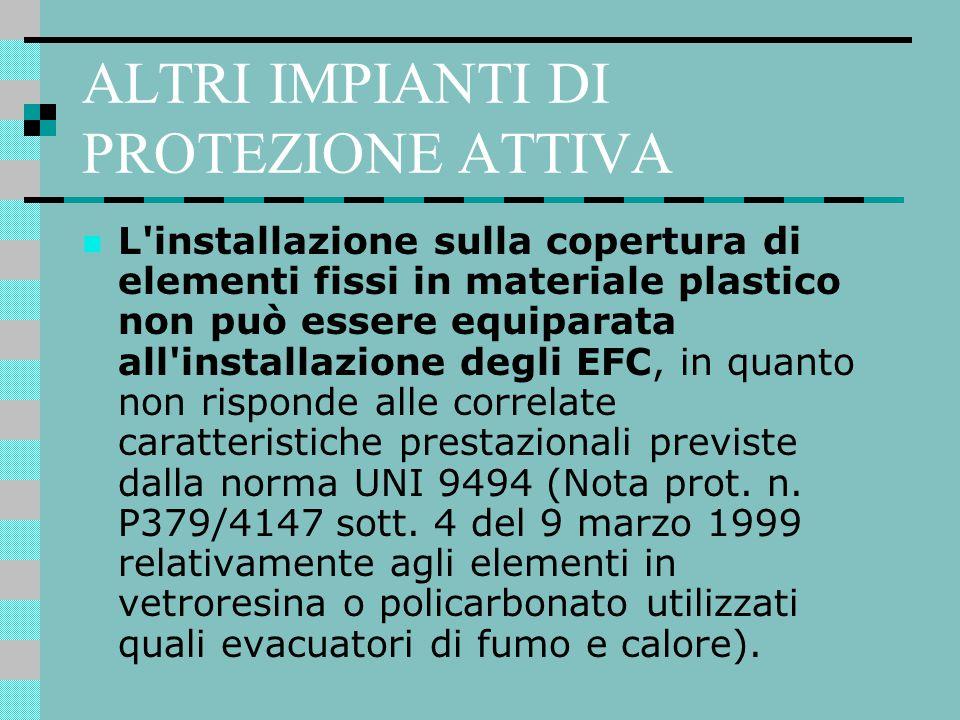 ALTRI IMPIANTI DI PROTEZIONE ATTIVA L'installazione sulla copertura di elementi fissi in materiale plastico non può essere equiparata all'installazion