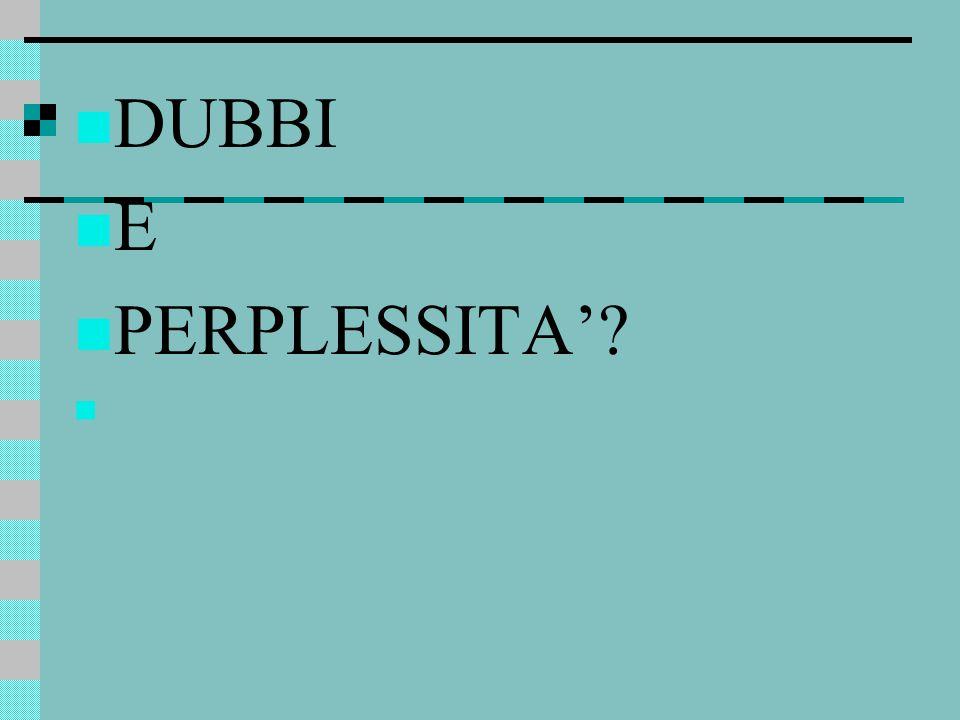 DUBBI E PERPLESSITA'?