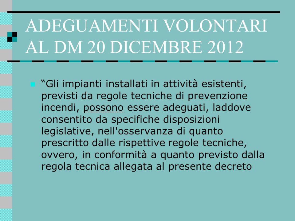 """ADEGUAMENTI VOLONTARI AL DM 20 DICEMBRE 2012 """"Gli impianti installati in attività esistenti, previsti da regole tecniche di prevenzione incendi, posso"""