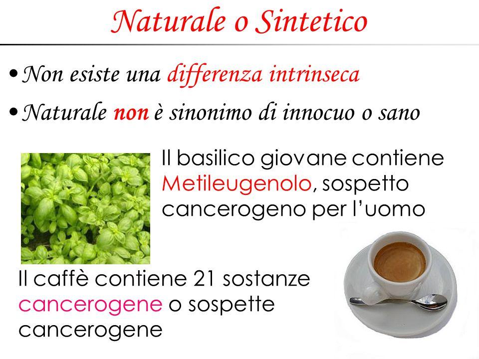 Naturale o Sintetico Non esiste una differenza intrinseca Naturale non è sinonimo di innocuo o sano Il basilico giovane contiene Metileugenolo, sospet