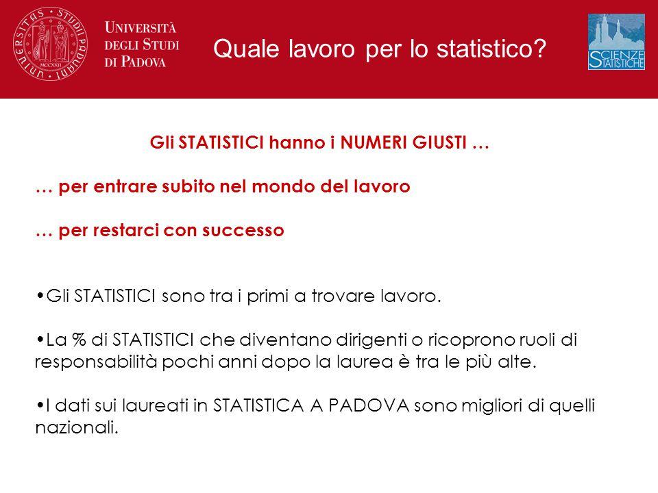 Gli STATISTICI hanno i NUMERI GIUSTI … … per entrare subito nel mondo del lavoro … per restarci con successo Gli STATISTICI sono tra i primi a trovare