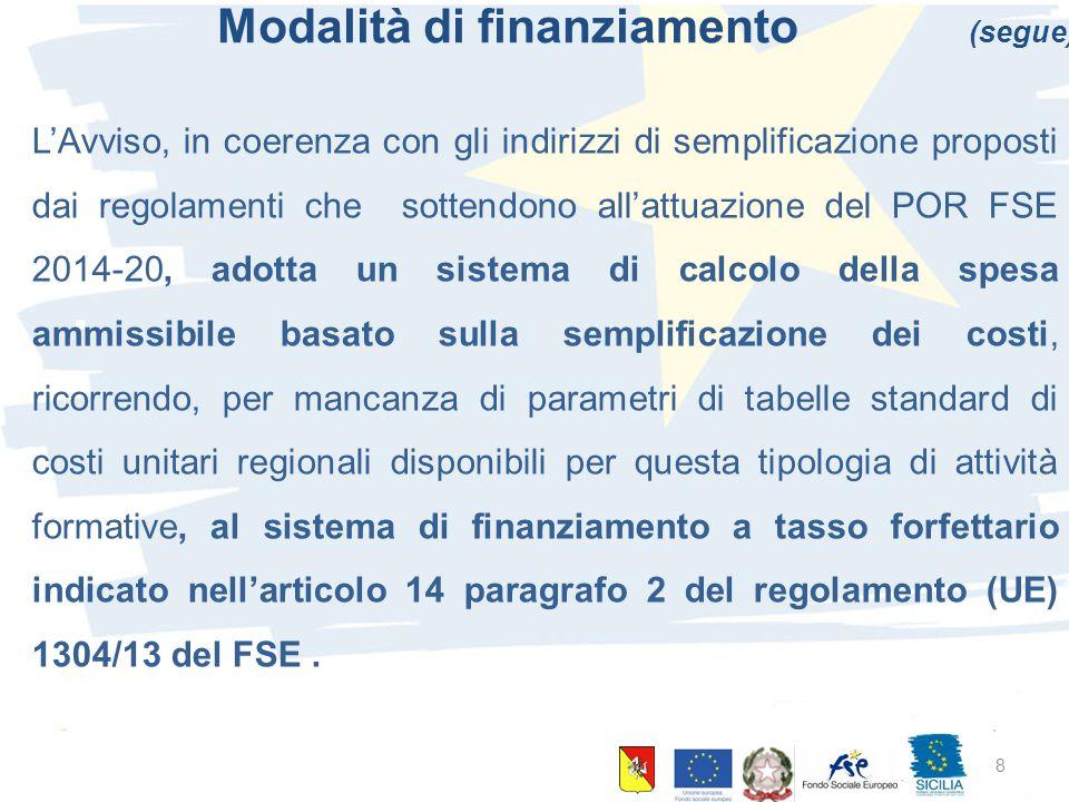 10 giugno 2015 Palermo 8 Modalità di finanziamento (segue) L'Avviso, in coerenza con gli indirizzi di semplificazione proposti dai regolamenti che sottendono all'attuazione del POR FSE 2014-20, adotta un sistema di calcolo della spesa ammissibile basato sulla semplificazione dei costi, ricorrendo, per mancanza di parametri di tabelle standard di costi unitari regionali disponibili per questa tipologia di attività formative, al sistema di finanziamento a tasso forfettario indicato nell'articolo 14 paragrafo 2 del regolamento (UE) 1304/13 del FSE.