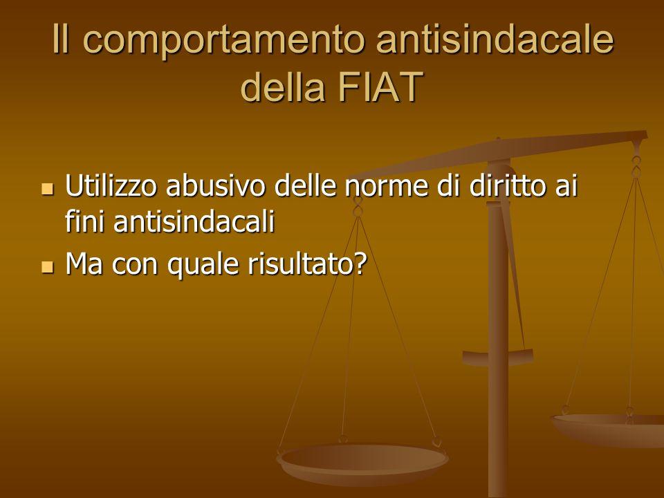 Il comportamento antisindacale della FIAT Utilizzo abusivo delle norme di diritto ai fini antisindacali Utilizzo abusivo delle norme di diritto ai fin