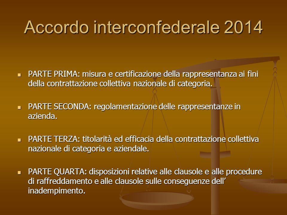 Accordo interconfederale 2014 PARTE PRIMA: misura e certificazione della rappresentanza ai fini della contrattazione collettiva nazionale di categoria