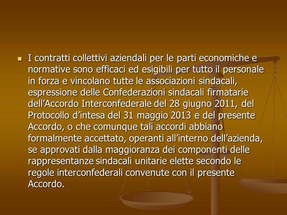 I contratti collettivi aziendali per le parti economiche e normative sono efficaci ed esigibili per tutto il personale in forza e vincolano tutte le a