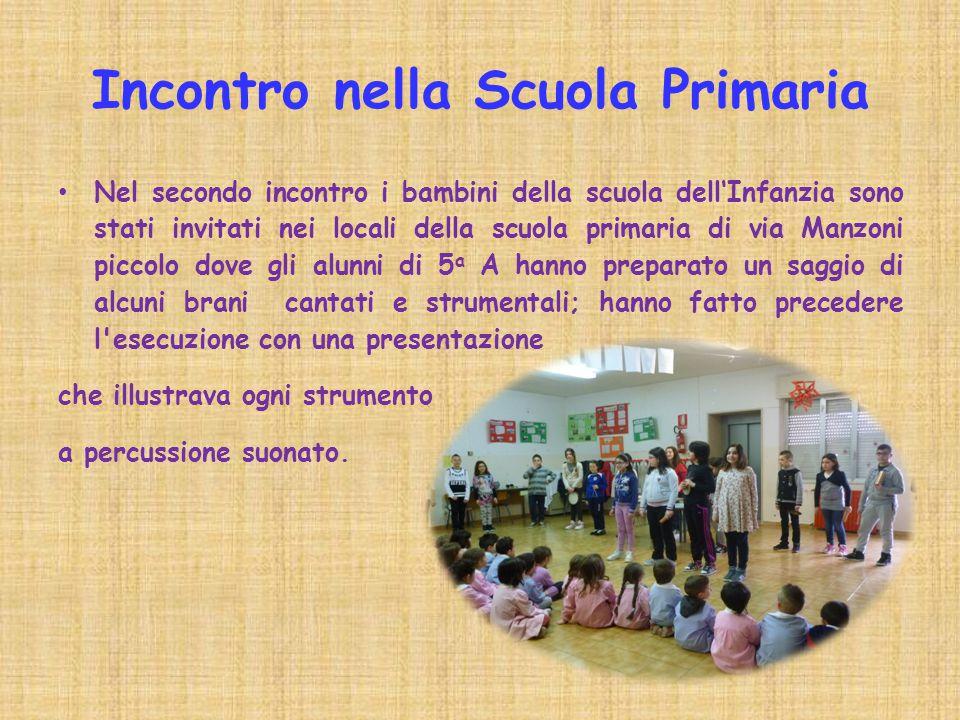Incontro nella Scuola Primaria Nel secondo incontro i bambini della scuola dell'Infanzia sono stati invitati nei locali della scuola primaria di via M