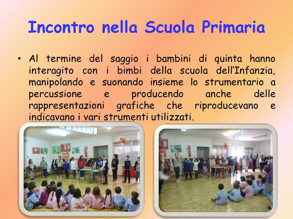 Incontro nella Scuola Primaria Al termine del saggio i bambini di quinta hanno interagito con i bimbi della scuola dell'Infanzia, manipolando e suonan