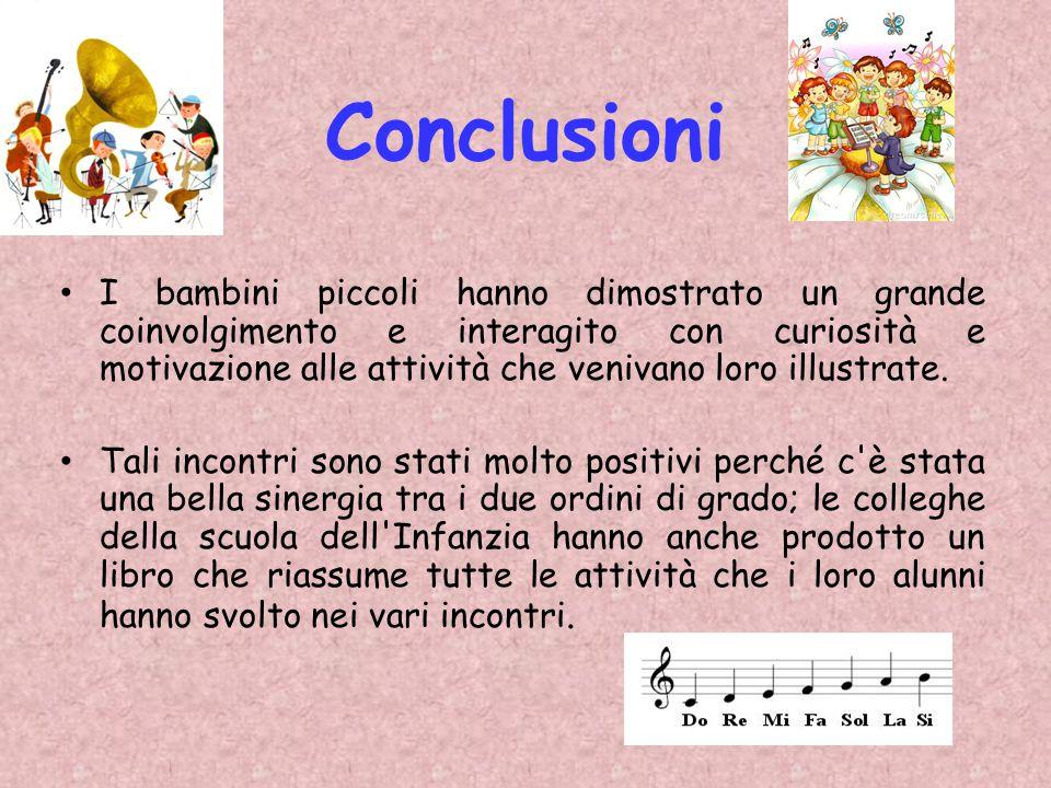 Conclusioni I bambini piccoli hanno dimostrato un grande coinvolgimento e interagito con curiosità e motivazione alle attività che venivano loro illus