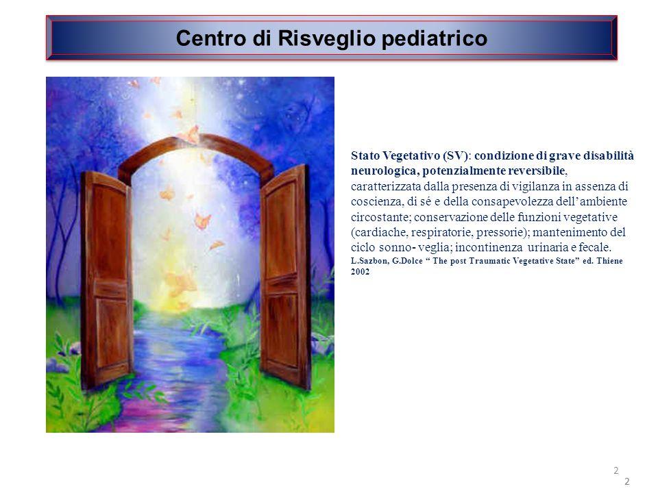 2 Centro di Risveglio pediatrico 2 2 Stato Vegetativo (SV): condizione di grave disabilità neurologica, potenzialmente reversibile, caratterizzata dal