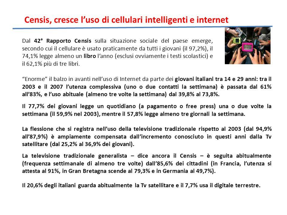 Censis, cresce l'uso di cellulari intelligenti e internet La televisione tradizionale generalista – dice ancora il Censis – è seguita abitualmente (frequenza settimanale di almeno tre volte) dall'85,6% dei cittadini (in Francia, l'utenza si attesta al 91%, in Gran Bretagna scende al 79,3% e in Germania al 49,7%).